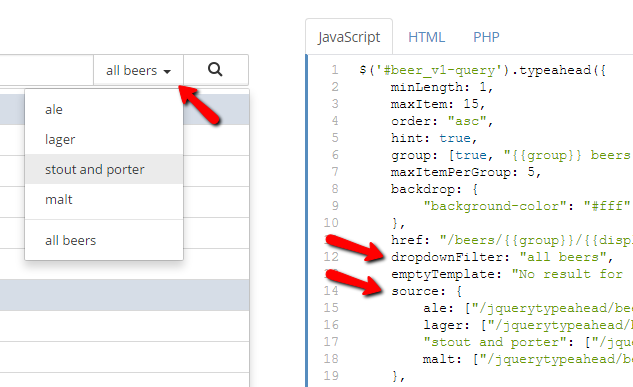 jQuery Typeahead Search Configuration